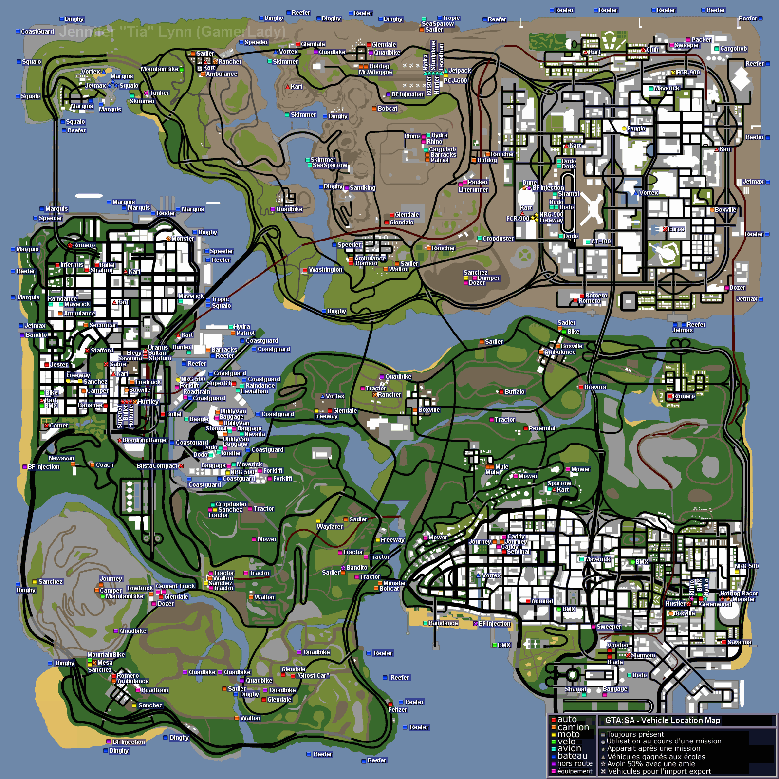 carte gta san andreas GTA San Andreas : Les cartes